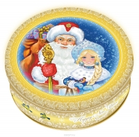 Печенье Monte Christo Дед Мороз и Снегурочка в жестяной коробке 400грамм