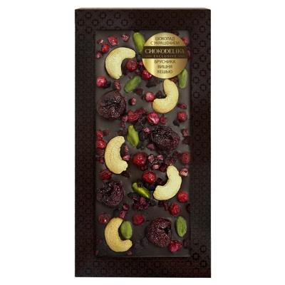 Chokodelika Шоколад тёмный с украшением брусника вишня кешью 100 г