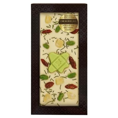 Chokodelika Шоколад белый с украшением зелёный чай фисташки годжи 100 г