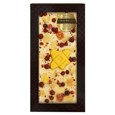 Chokodelika Шоколад белый с украшением имбирь лимон брусника 100 г