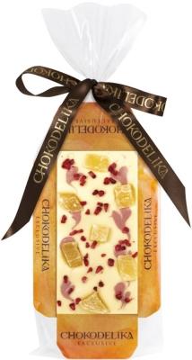Chokodelika Шоколад белый узорный с ананасом и малиной (на подложке) 55 г