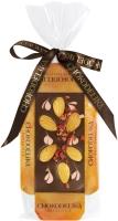 Chokodelika Шоколад темный узорный с клубникой и миндалем (на подложке) 55 г