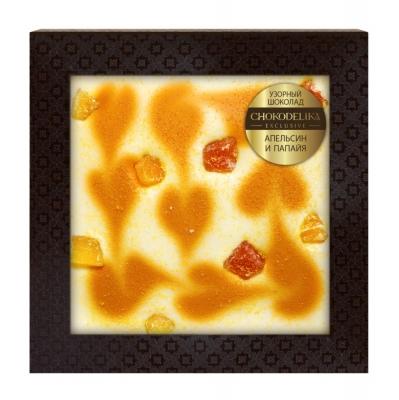 Chokodelika Узорный шоколад апельсин и папайя (блистер) 80 г