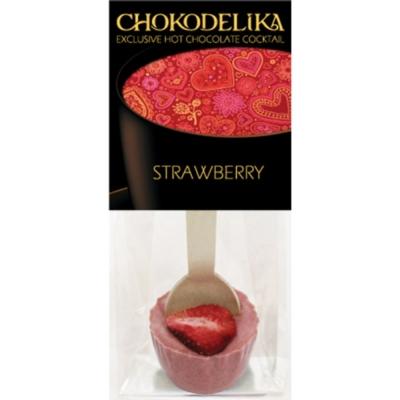 Chokodelika Шоколад белый с украшением клубника (коктейль с ложкой) 50 г