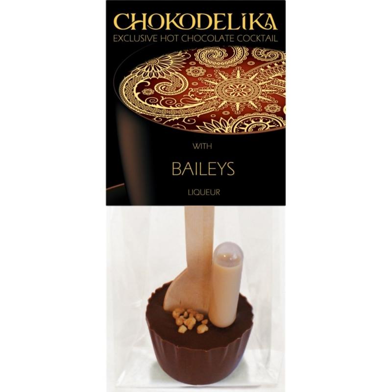 Chokodelika Шоколад молочный с украшением в наборе с алкоголем с ликером бейлис (коктейль с ложкой) 50 г