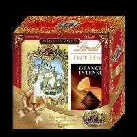 Чайный набор Basilur 75грамм и шоколадная плитка Lindt 100грамм в подарок