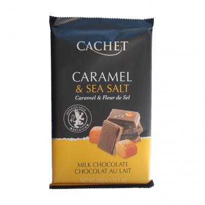 Шоколад CACHET молочный с карамелью и морской солью 300 грамм