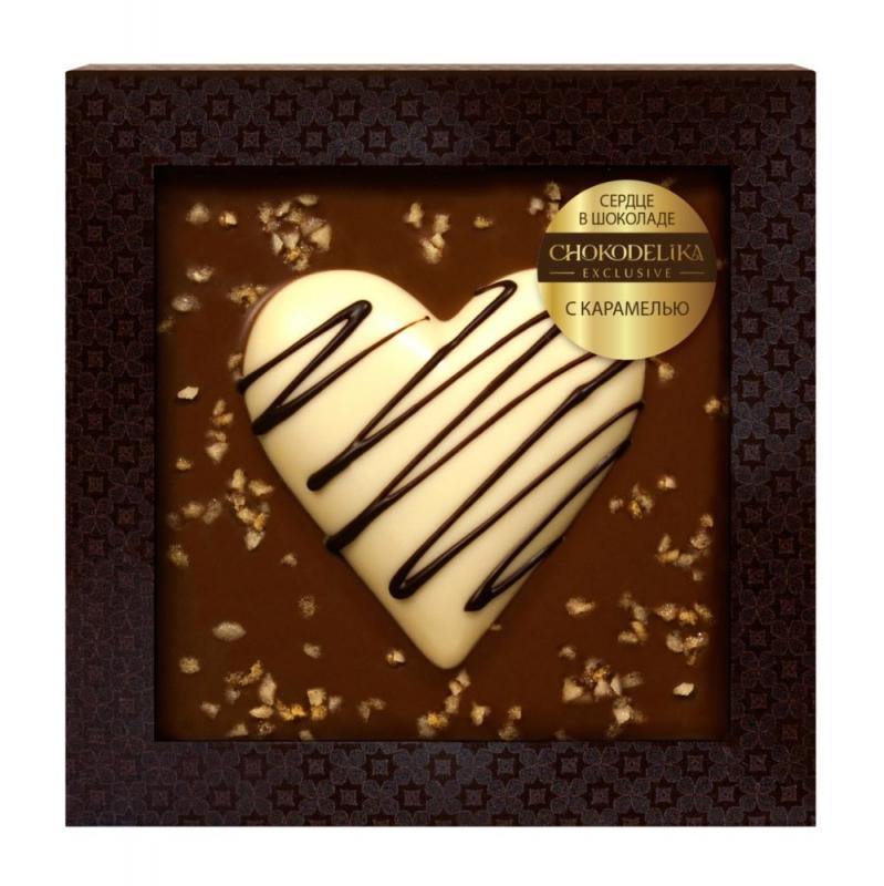 Chokodelika Сердце в шоколаде с карамелью в блистере 90 г