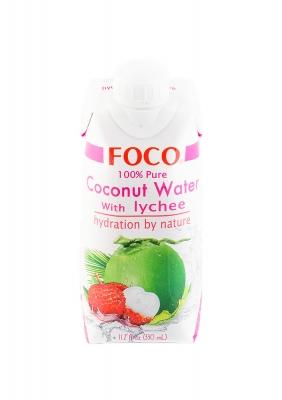 Кокосовая вода FOCO с соком личи без сахара 330 мл