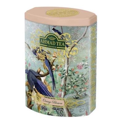 Чай Ахмад черный листовой с цветками апельсина 100 гр в железной банке