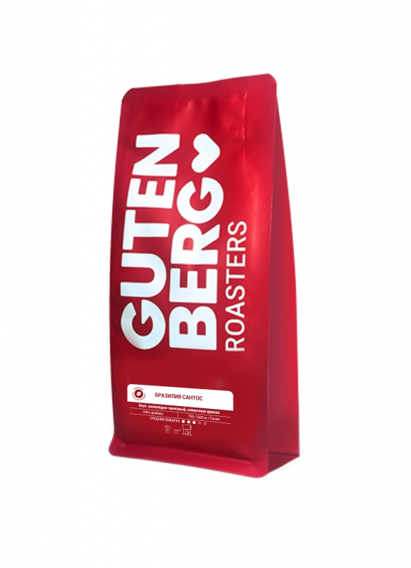 Кофе в зернах Gutenberg Бразилия Сантос 250 г