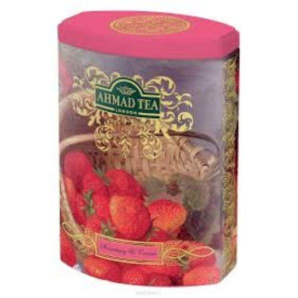 Чай Ахмад Клубника со сливками черный листовой 100 гр в железной банке