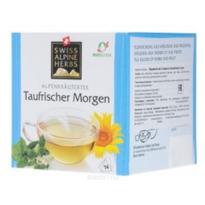 Травяной чай в пакетиках Swiss Alpine Herbs Свежесть Альпийского утра 14 шт х по 1 г