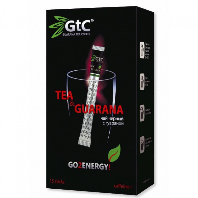 Чай GTC черный с гуараной в стиках 15 шт х 2 г