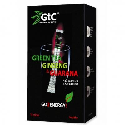 Чай GTC зеленый китайский с женьшенем в стиках 15 шт х 2 г