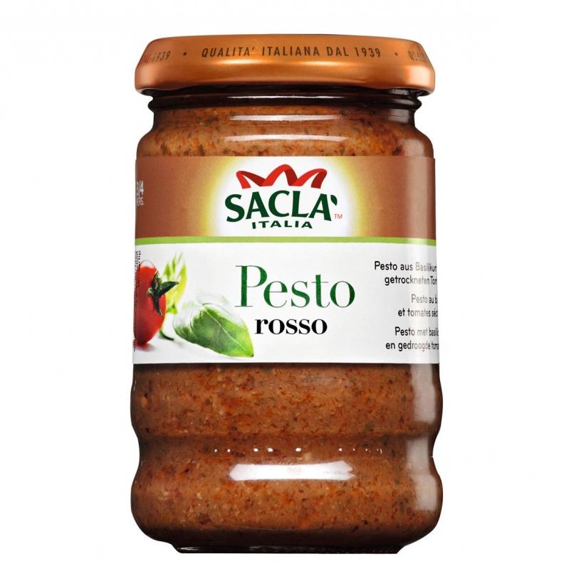 Томатный песто-соус Sacla для макарон с базиликом и томатами 190 гр