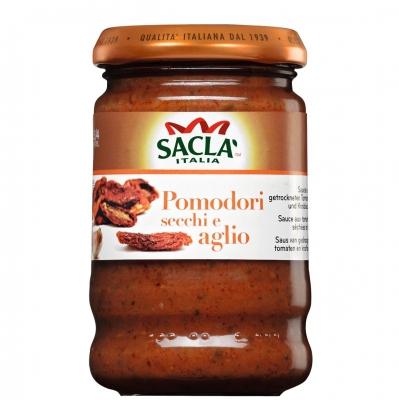 Соус-приправа для макарон Sacla с высушенными на солнце томатами и чесноком 190 гр