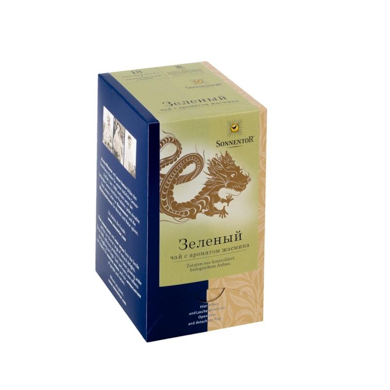 Зеленый чай в пакетиках Sonnentor с ароматом жасмина 18 шт х по 15 г