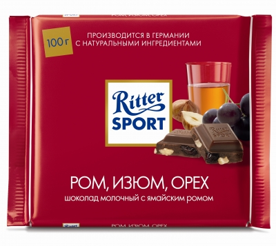 Шоколад Ritter Sport молочный с ромом, орехом и изюмом 100 г