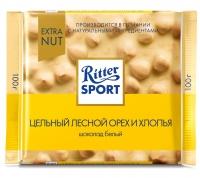 Шоколад Ritter Sport Extra Nut белый c цельным лесным орехом и хлопьями 100 г