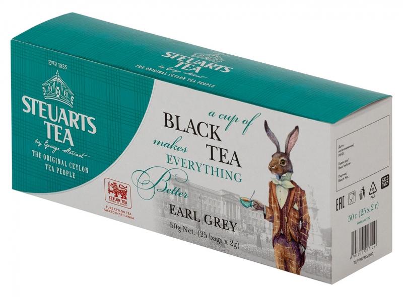 Чай чёрный с бергамотом пакетированый Steuarts Tea Black Tea Earl Grey 25 шт
