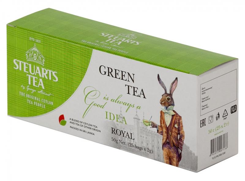 Чай зелёный пакетированый Steuarts Tea Green Tea Royal 25 шт