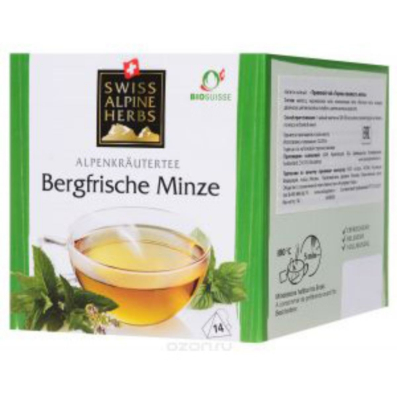 Травяной чай в пакетиках Swiss Alpine Herbs Горная свежесть мяты 14 шт х по 1 г