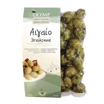 Оливки OLYMP Эгейские лимон и травы 500 гр