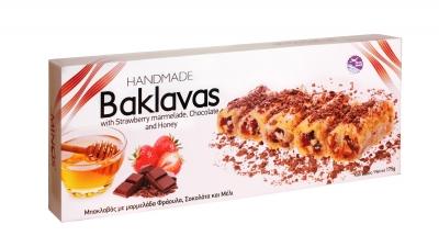Греческая пахлава Minos с медом, шоколадом и клубничным мармеладом 175 г