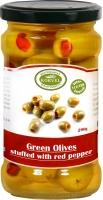 Korvel Супер Колоссал зеленые оливки, фаршированные красным перцем 290 г