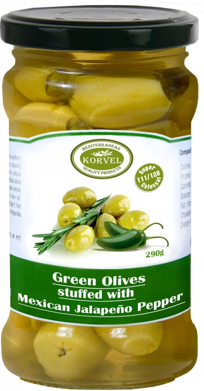 Korvel Супер Колоссал зеленые оливки, фаршированные перцем халапеньо 290 г