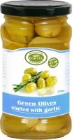 Korvel Супер Колоссал зеленые оливки, фаршированные чесноком 290 г