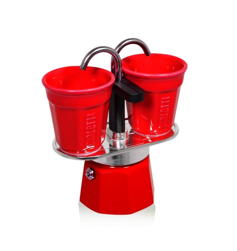 Мини гейзерная кофеварка + 2 красные чашки Bialetti Экспрес
