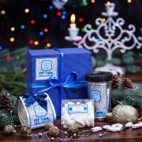Кофейный подарок в синей гофре «Классик»