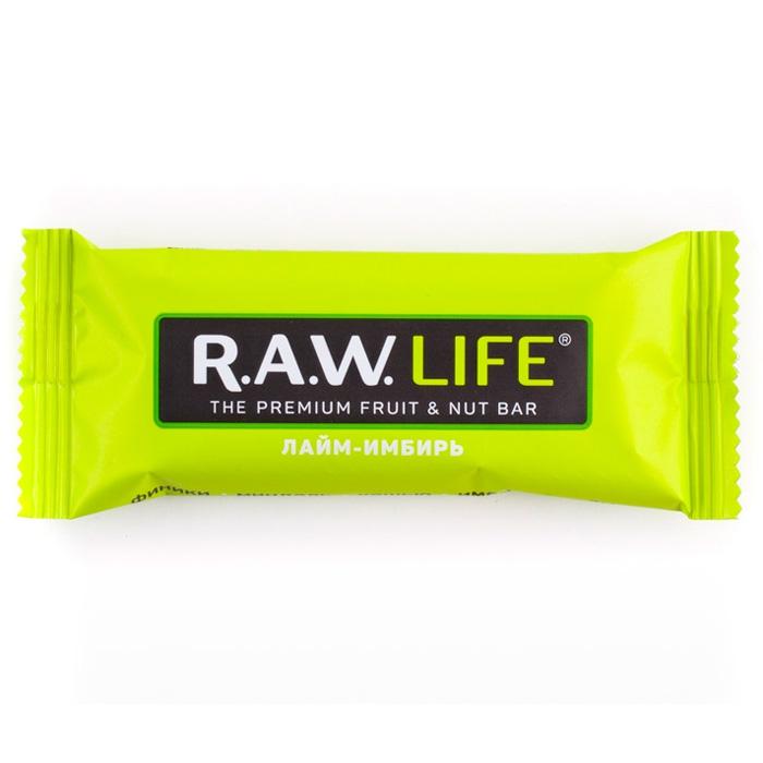 RAW LIFE Орехово-Фруктовый батончик Лайм-Имбирь 47 гр