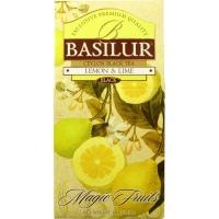 Чай Basilur Волшебные Фрукты Лимон и лайм листовой черный 100 гр в картонной упаковке