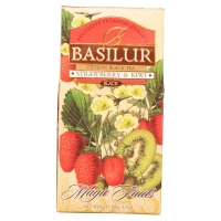 Чай Basilur Волшебные Фрукты Клубника и киви листовой черный 100гр в картонной упаковке