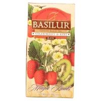 Чай Basilur Волшебные Фрукты Клубника и киви листовой черный 100 гр в картонной упаковке