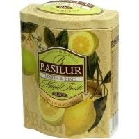 Чай Basilur Волшебные Фрукты Лимон и лайм листовой черный 100гр в жестяной банке