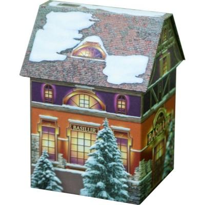Чай Basilur Рождественский домик Christmas House листовой черный 100 гр в жестяной банке