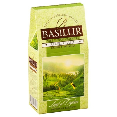 Чай Basilur Лист Цейлона Раделла Radella Green листовой зеленый 100 гр в картонной упаковке