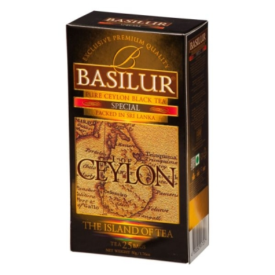 Чай Basilur Остров Спешиал Special FBOP 25 пакетиков черный в картонной упаковке