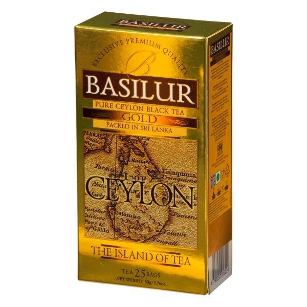 Чай Basilur Остров Золотой Gold OP1 25 пакетиков черный в картонной упаковке
