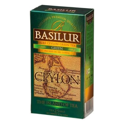 Чай Basilur Остров Зеленый Green OPA 25 пакетиков зеленый в картонной упаковке