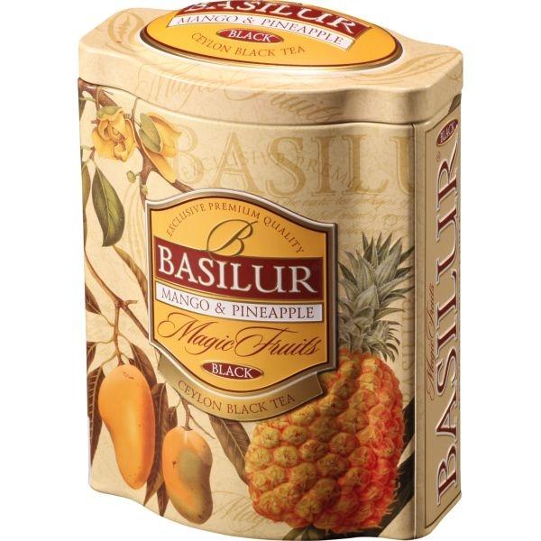 Чай Basilur Волшебные Фрукты Манго и ананас листовой черный 100 гр в жестяной банке