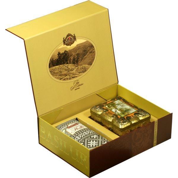 Подарочный набор Basilur Чайный подарок коричневый (Ларец Янтарь + Фолк Черно-бел.)
