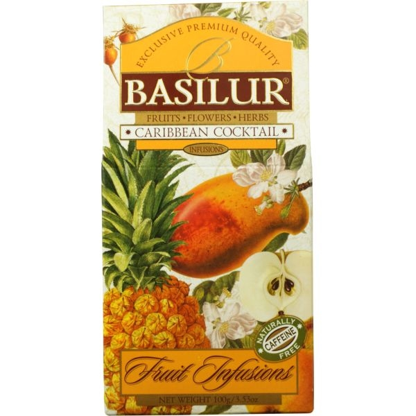 Чай Basilur Фруктовое Вдохновение Карибский Коктейль листовой Фруктовый 100 гр в картонной упаковке
