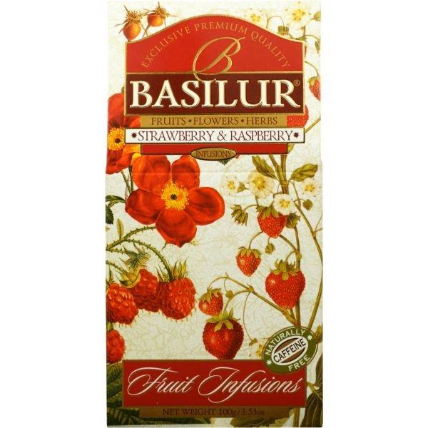 Чай Basilur Фруктовое Вдохновение Клубника и Малина листовой Фруктовый 100 гр в картонной упаковке