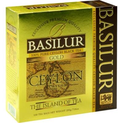 Чай Basilur Остров Золотой Gold OP1 100 пакетиков черный в картонной упаковке