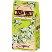 Чай Basilur Букет китайский байховый с лепестками жасмина листовой зеленый 100гр в картонной упаковке